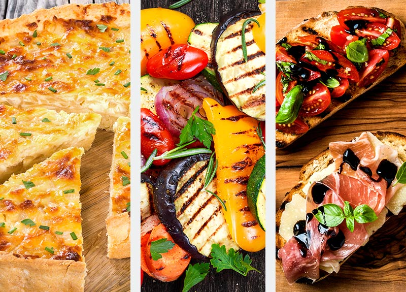 Quiche, Grilled Vegetables & Bruschetta