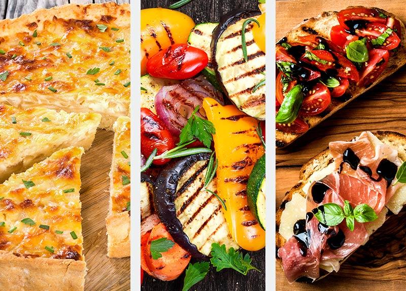 Quiche, Grilled Vegetables & Bruschetta