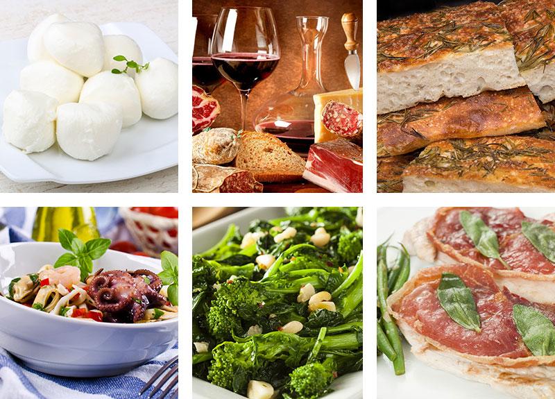 Mozzarella, Wine, Focaccia, Seafood Salad, Broccoli Rabe & Veal